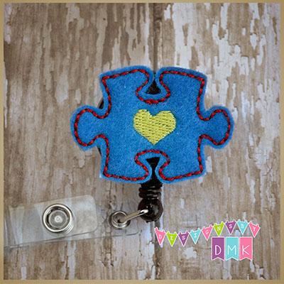 Autism Awareness Puzzle Piece Blue Felt Badge Reel