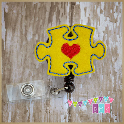 Autism Awareness Puzzle Piece Yellow Felt Badge Reel