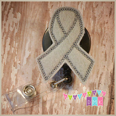 Brain Cancer Awareness Ribbon Grey Felt Badge Reel