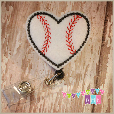 Baseball Heart Felt Badge Reel