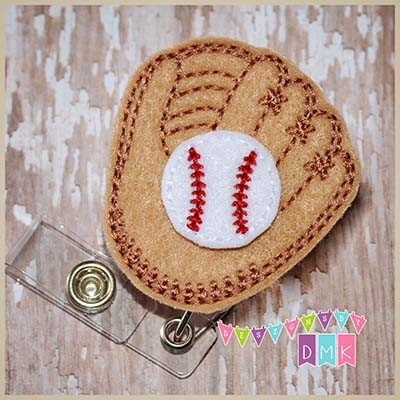 Baseball Mitt with Ball Felt Badge Reel