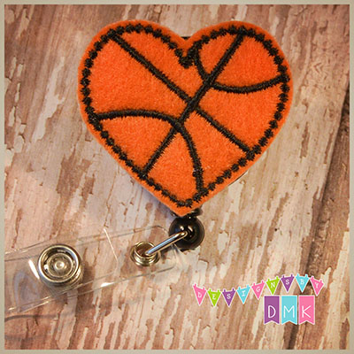 Basketball Heart Felt Badge Reel