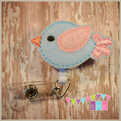 Blue & Pink Birdie Felt Badge Reel