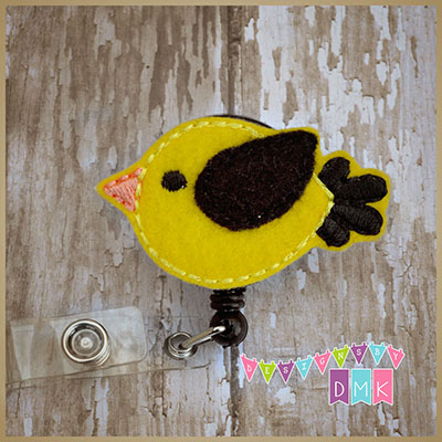 Yellow & Black Birdie Felt Badge Reel