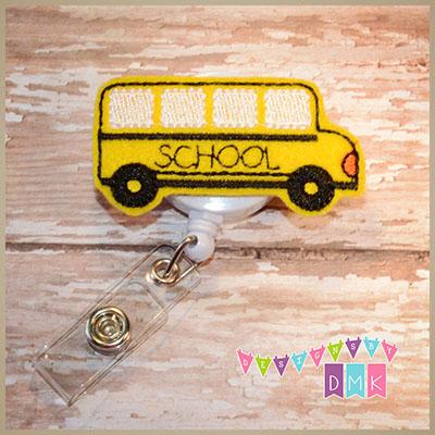 School Bus Felt Badge Reel