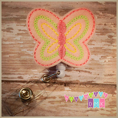 Pink Butterfly Felt Badge Reel
