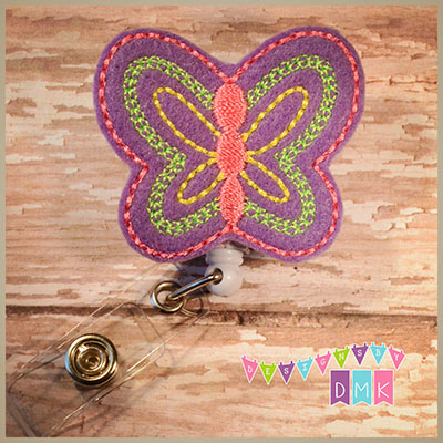 Purple Butterfly Felt Badge Reel