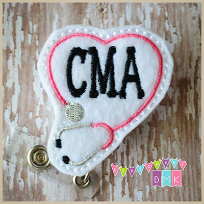 CMA Stethoscope Heart Pink Felt Badge Reel