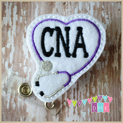 CNA Stethoscope Heart Purple Felt Badge Reel