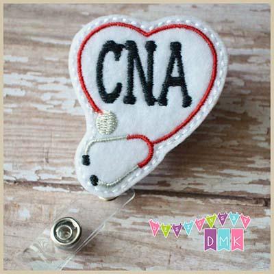 CNA Stethoscope Heart Red Felt Badge Reel