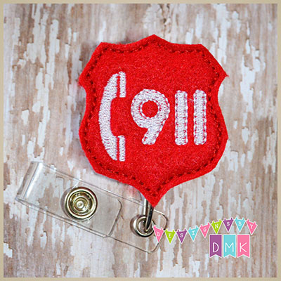 Call 911 Felt Badge Reel