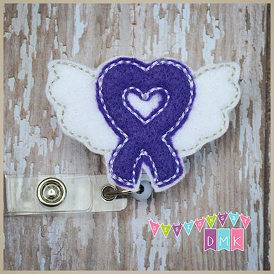 Cancer Awareness Ribbon with Wings Purple Felt Badge Reel