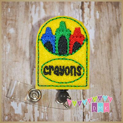 Box of Crayons Felt Badge Reel