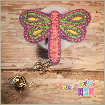 Purple Dragonfly Felt Badge Reel