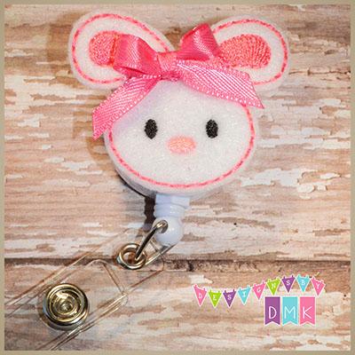 Easter Bunny Brite Pink Felt Badge Reel
