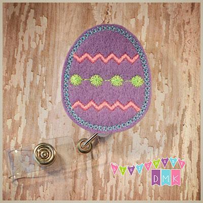 Chevron Easter Egg Purple Felt Badge Reel