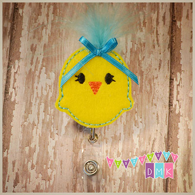 Feather Chick Brite Blue Felt Badge Reel