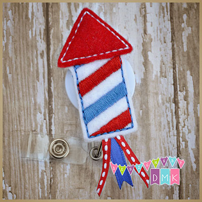 Firecracker Rocket Felt Badge Reel
