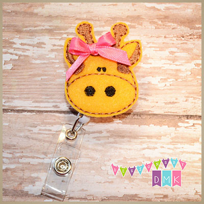 Giraffe Felt Badge Reel