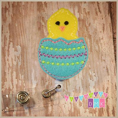 Hatching Chick Easter Egg Brite Blue Felt Badge Reel
