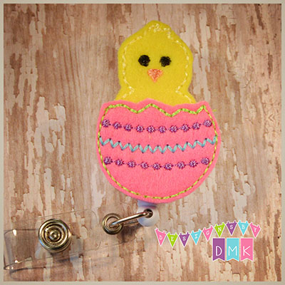 Hatching Chick Easter Egg Brite Pink Felt Badge Reel