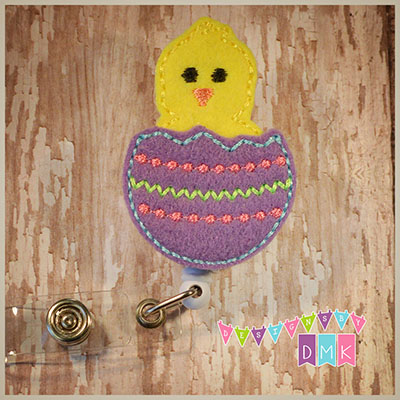 Hatching Chick Easter Egg Purple Felt Badge Reel