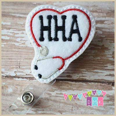 HHA Stethoscope Heart Red Felt Badge Reel