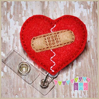 Heart with Bandaid Felt Badge Reel
