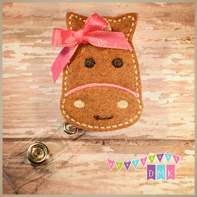 Horse - Caramel with Pink Felt Badge Reel