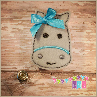 Horse - Grey with Brite Blue Felt Badge Reel