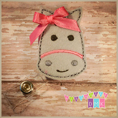 Horse - Grey with Pink Felt Badge Reel