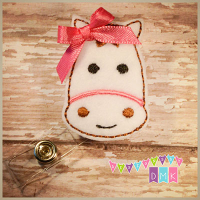 Horse - White with Pink Felt Badge Reel