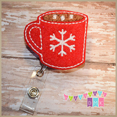 Hot Cocoa Red Felt Badge Reel