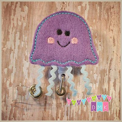Jellyfish Purple & Blue Felt Badge Reel