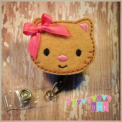Tan Kitty Cat Felt Badge Reel