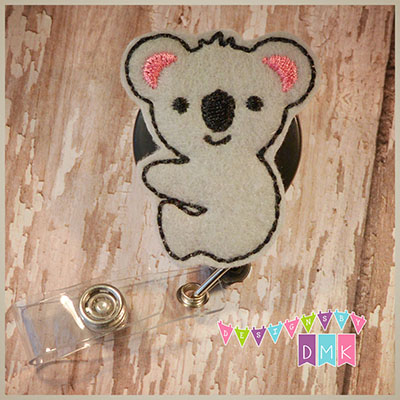 Koala Bear Full Body Felt Badge Reel