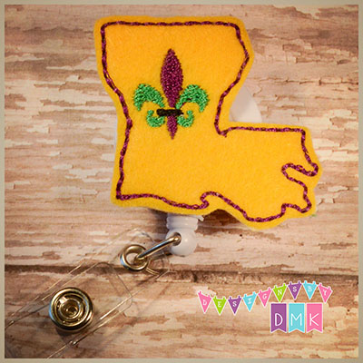 Louisiana Fleur Felt Badge Reel