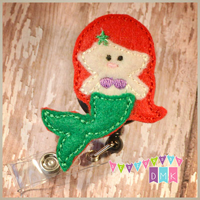 Mermaid Red Hair Green Tail Felt Badge Reel