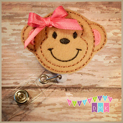 Monkey Felt Badge Reel