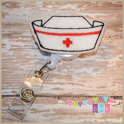 Nurse Cap Red Felt Badge Reel
