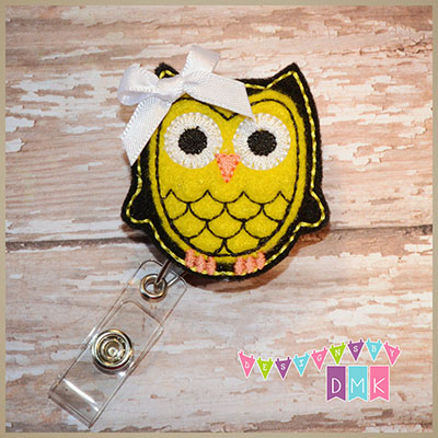 Owl - Black & Yellow Felt Badge Reel