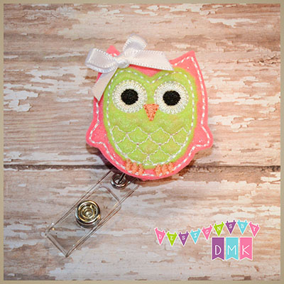 Owl -  Brite Pink & Lime Felt Badge Reel
