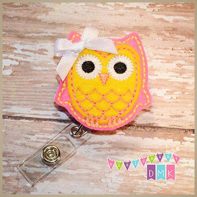 Owl - Brite Pink & Yellow Felt Badge Reel