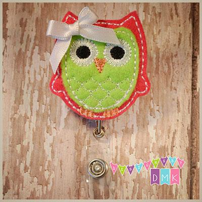 Owl - Dark Pink & Lime Felt Badge Reel