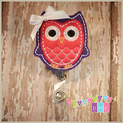 Owl - Dark Purple & Dark Pink Felt Badge Reel