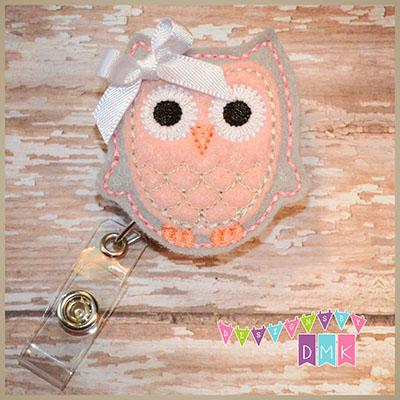 Owl - Grey & Light Pink Felt Badge Reel