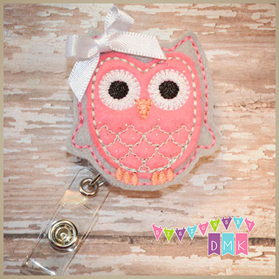 Owl - Grey & Brite Pink Felt Badge Reel