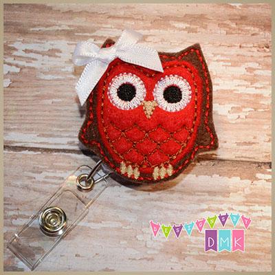 Owl - Brown & Red Felt Badge Reel