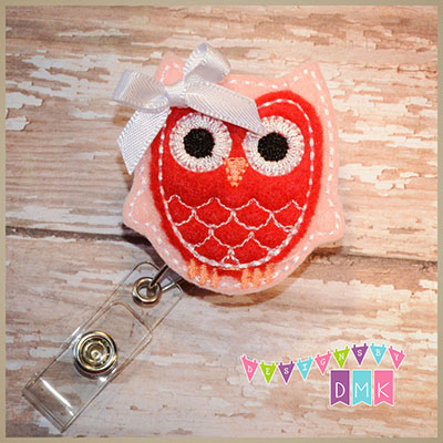 Owl - Light Pink & Red Felt Badge Reel