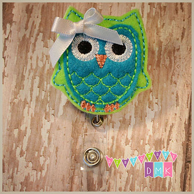 Owl - Lime & Turquoise Felt Badge Reel